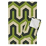 Roostery Geometric Greek Chevron Zigzag Italian Green Abstract Tea Towels Greek_100_Green by Chicca Besso Set of 2 Linen Cotton Tea Towels