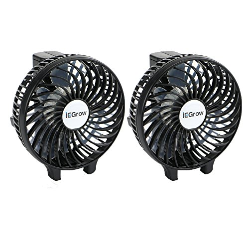 iEGrow HF308 Handheld USB Battery Fan, Pack of 2, Black