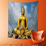 Analisahome Tapestry Wall Hanging The Biggest Golden Indian Statue at The Temple in Thai Oriental Sage Asian Home Decorations for Bedroom Dorm