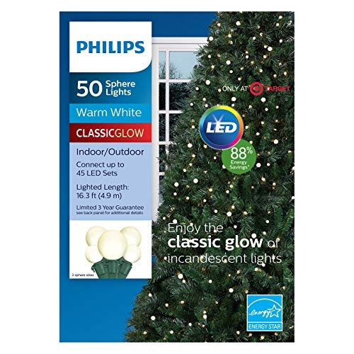 Philips 50ct Christmas LED Smooth Sphere String Lights Warm White GW 3 Sizes (Sphere White)