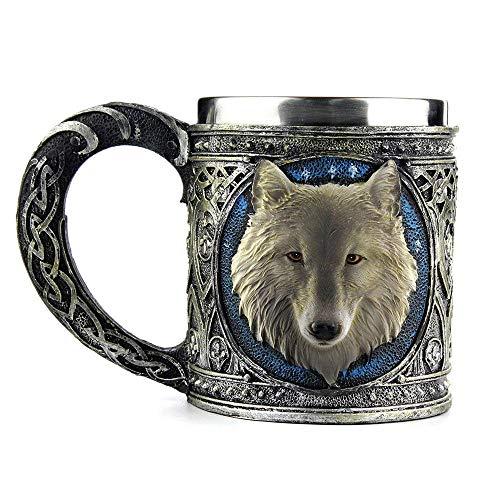 Hli-SHJHsmu 3D Wolf King Head Pattern Mug Retro Resin Stainless Steel Coffee Tea Cup 15oz