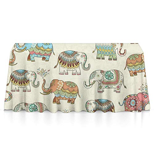 GLORY ART Waterproof Tablecloth,Timeless Elephants,Large Dust-Proof Vinyl Table Cloth Cover, Great for Dinner,Wedding,Patio,Parties,Holiday Dinner,Buffet Table& More(60