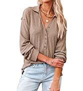 BTFBM Women Casual Button Up V Neck Blouses Long Sleeves Solid Color Stand Collar Knitted Tops Cu...