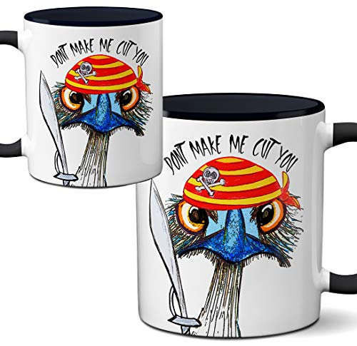 Don't Make Me Cut You Ostrich Pirate Mug by Pithitude - One Single 11oz. Black Coffee Cup