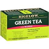 Bigelow Green Tea with Mango 20 Bags (Pack of 6), Premium Green Tea with Mango Rosehips Hibiscus Chamomile and Lemon Peel, Bright Antioxidant-Rich All Natural Medium-Caffeine Tea in Foil-Wrapped Bags