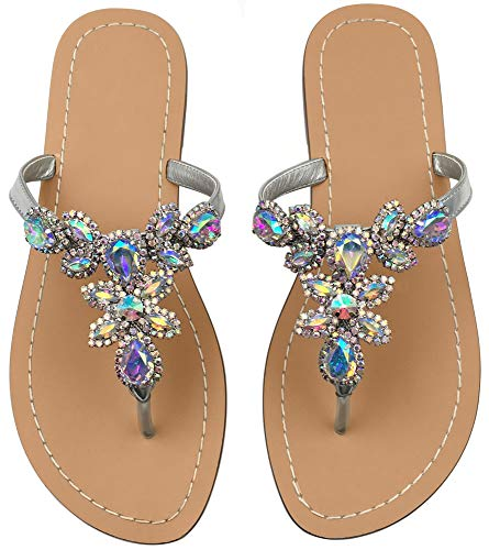 (Hinyyrin Beach Sandals for Women Ladies Thong Sandals Jeweled White Size 7.5)