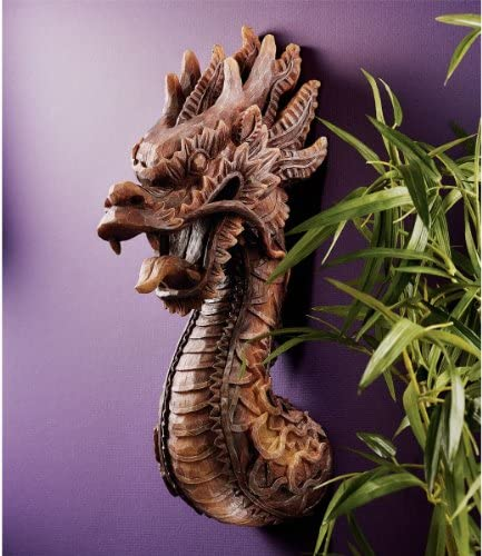 18.5 Chinese Dragon Wall Sculpture Statue Figurine