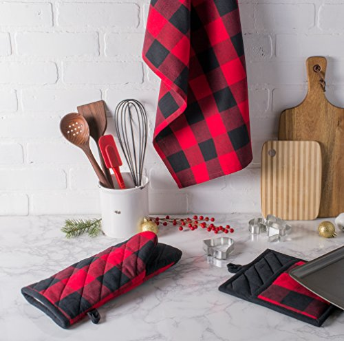 DII Cotton Buffalo Check Plaid Dish Towels, (20x30'', Set of 3) Monogrammable Oversized Kitchen Towels for Drying, Cleaning, Cooking, & Baking - Red & Black by DII (Image #7)
