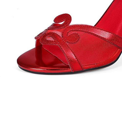 VogueZone009 Women's Buckle Peep Toe High-Heels Blend Materials Solid Sandals Red 3IzWJYK