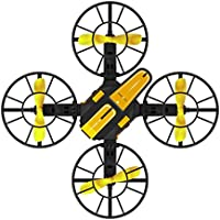 RC Quadcopter Drone X1 2.4G 2.4GHz Plug-in 4-Axis Mini DIY RC Drone Quadcopter 0.3MP HD Camera FPV (Yellow)