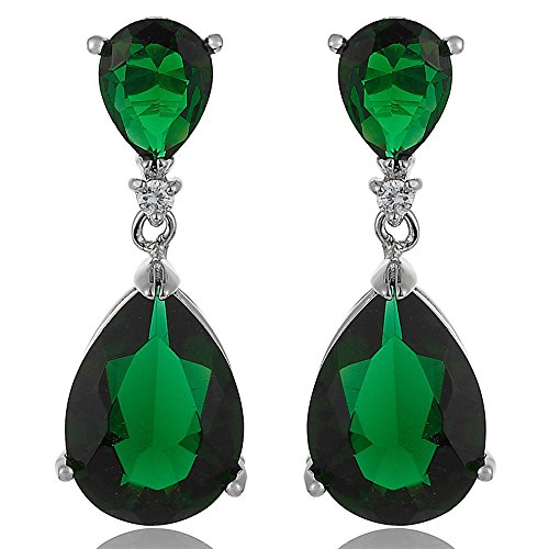 [RIZILIA CELEBOX] Teardrop Dangle Pierced Earrings with Pear Cut CZ [Simulated Green Emerald] in White Gold Plated, Celebrity inspired by Angelina (Emerald Cut Dangle)