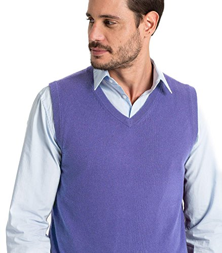 WoolOvers Pullunder aus Baumwolle-Kaschmirwolle für Herren Alpine Blue, XL