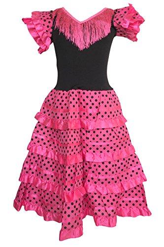 La Senorita Spanish Flamenco Dress Princess Costume - Girls/Kids - Pink/Black (Size 8-6-7 Years, Pink -