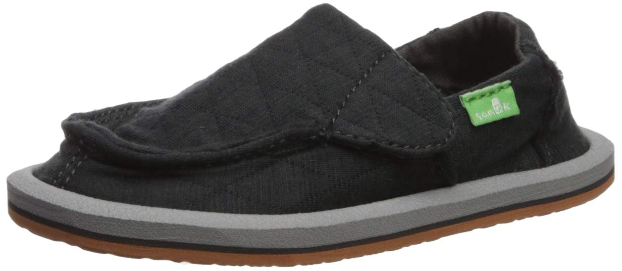 Sanuk Kids Girl's Lil Donna Quilted Loafer, Dark Charcoal, 03 M US Little Kid