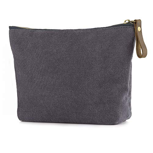 - SMRITI Canvas Large Makeup Bag Pouch Purse Handbag Organizer with Zipper (Light grey)