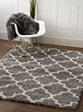 Entry Rugs Gray & White Trellis Shag Rug, 3-Feet 2-Inch by 5-Feet, 3x5 Solid & Thick Stain-Resistant Entry Way Rug