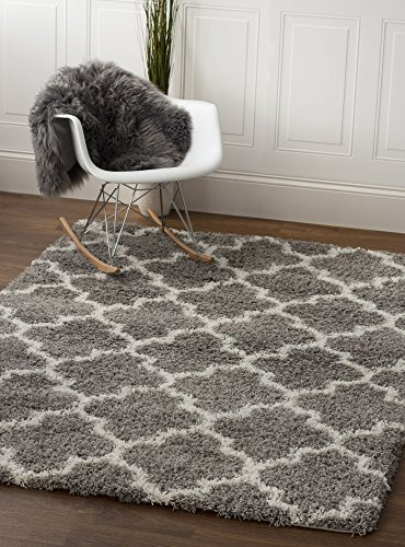"Soft & Plush Geometric Trellis Large Shag Rug for Bedroom | Living Room | Dining Room 7' 10"" x 9' 10\"", Gray & White"