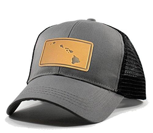 Homeland Tees Men's Hawaii Leather Patch Trucker Hat - Grey