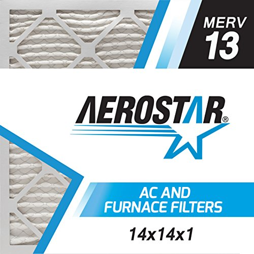 Aerostar 14x14x1 MERV 13, Pleated Air Filter, 14x14x1, Box of 4, Made in the USA