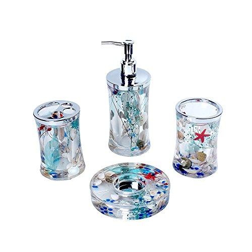 Bathroom 4 Pieces Accessories Set/Toothbrush Holder, Lotion Dispenser, Soap Dish & Tumbler with Decorative Beach Seashell Starfish Ocean (Seashell Bath Accessories)