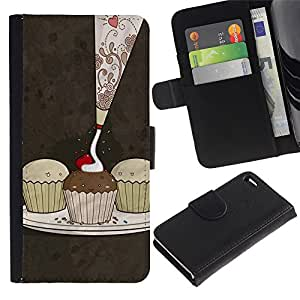LeCase - Apple Iphone 4 / 4S - Cute Cupcakes Pattern - Cuero PU Delgado caso Billetera cubierta Shell Armor Funda Case Cover Wallet Credit Card