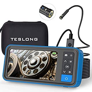 Dual-Cameras Borescope with Display, Teslong 4.5inch IPS Screen Industrial Endoscope with 1080p Dual Lens Inspection Camera Probe, 16ft Waterproof Snake Cable, Adjustable LED Lights