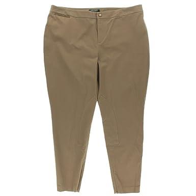 964c864ee18df Lauren Ralph Lauren Women s Faux Suede-Trim Welt Pocket Pants - Brown -