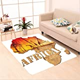 Nalahome Custom carpet ion Africa Map with Wood Tree Texture and Giraffe Figures Fantasy Spiritual Continent Orange Tan area rugs for Living Dining Room Bedroom Hallway Office Carpet (5' X 7')