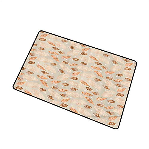 (Outdoor Doormat Pearls Decor Collection Pattern with Pearls Seashells an Oysters Natural Marine Life Style Decor Beach Theme W30 xL39 Easy to Clean Carpet Tan Peach )