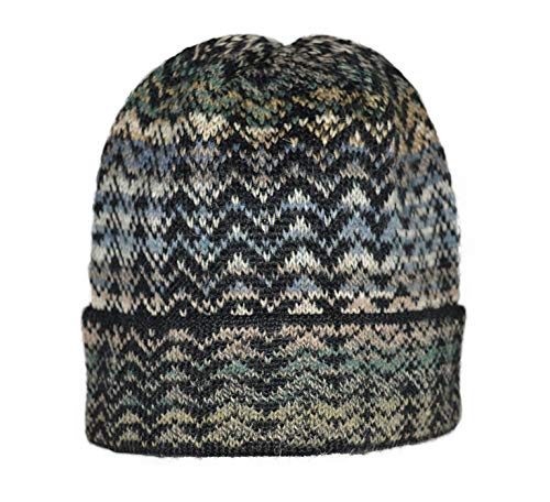 Invisible World Women's 100% Alpaca Wool Hat Knit Unisex Beanie Winter Noelle Blue Large