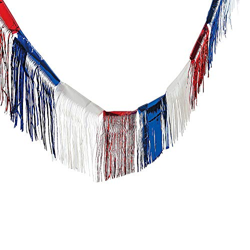 Fun Express Foil Patriotic Parade Float Fringe (24 ft) Fourth of July Decorations]()