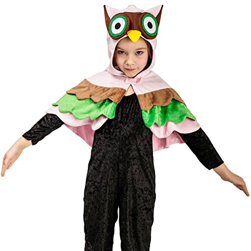 Animal Dress Up Costume Cloak Cape for Kids (4-6Y,Owl) -