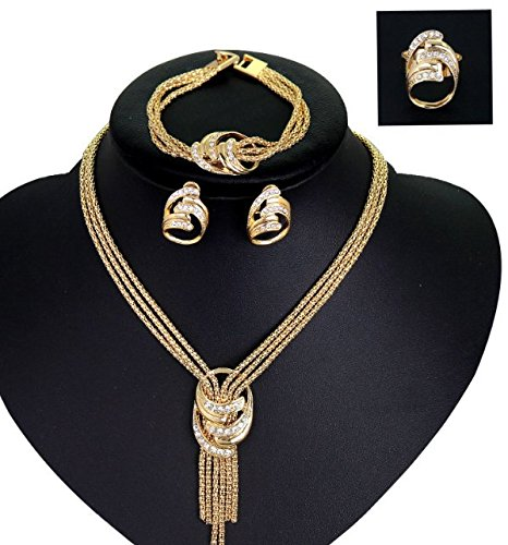 African Costume Necklace Set Party Fashion Women Dubai Gold Plated Jewelry Sets