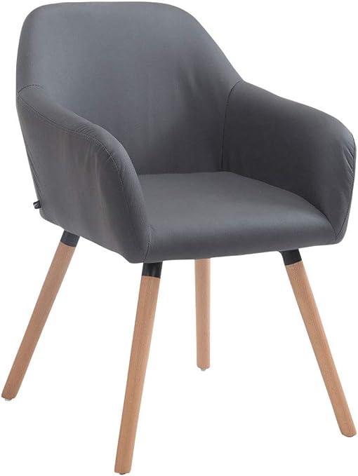 CLP Chaise de Salle à Manger ACHAT V2 Similicuir I Pieds en Bois I Fauteuil de Salon Rembourré Dossier I Chaise Design Retro Scandinave I Couleur: