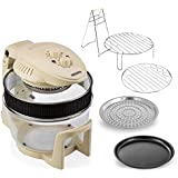 Cream Cookshop12L Halogen Oven with 5L Extender Ring and Hinged Lid