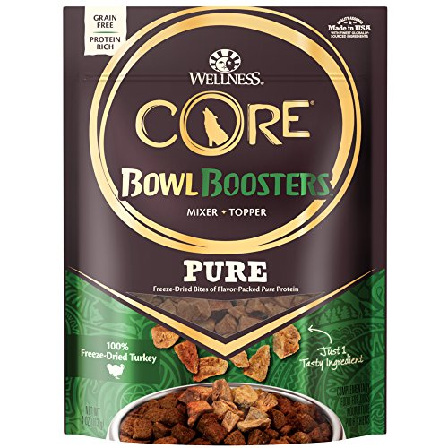 Wellness Core Natural Grain Free Bowl Boosters Pure Dog Food Mixer Or Topper, Freeze Dried Turkey, 4-Ounce Bag