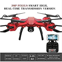 3MP WIFI RC Drone Quadcopter with Camera HD Headless 2.4G 6-Axis Real Time RC Helicopter Quadcopter (Red with camera)