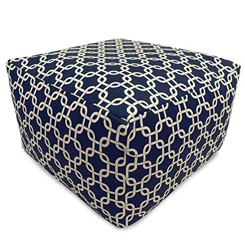 Majestic Home Goods Links Ottoman, Large, Navy Blue