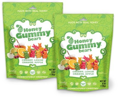 GELATIN-FREE Honey Gummy Bears (2-Pack) - Lovely Co. (2) 6oz Bag - Cherry, Lemon & Apple Flavors | NO HFCS, GLUTEN or Fake Ingredients! ()