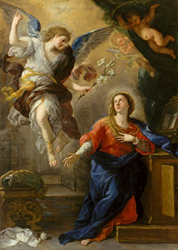 Berkin Arts Luca Giordano Giclee Canvas Print Paintings Poster Reproduction(The Annunciation)