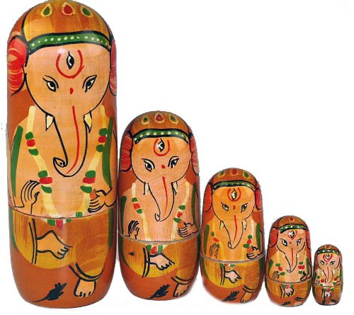 Ganesh 5 Piece Wooden Russian Doll Set - Traditional Toy sd