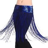Pilot-trade Lady's Belly oriental Dance Fringe Tassel Brilliant Hip Scarf Belt Skirt Dark Blue