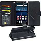 Arae LG Stylo 5 Case, PU Leather Wallet case for LG Stylo 5 with Wrist Strap and ID&Credit Cards Pocket - Black
