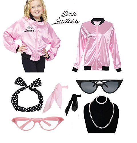 1950s Child Pink Ladies Satin Jacket T Bird Danny Halloween Costume (T Birds Jacket Kids)