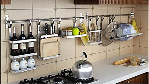 Kitchen Cookware Organizer Stainless Steel with Pot rack Lid Holder Spice Rack Wine Rack Knife Block Chopping Board Holder Flatware Utensils Caddy Dish Drying Rack 6 Utility Hooks Wall - Lighted Pot Rack