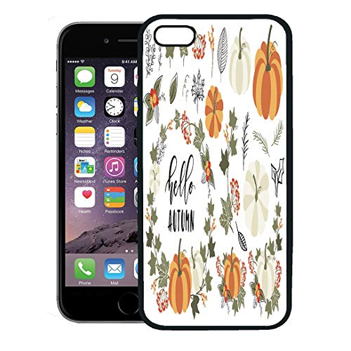 Semtomn Phone Case for iPhone 8 Plus case Cover,Orange Harvest Collection of Autumn and Fall Clip Pumpkin Leaf Wreath Branch Berry Thanksgiving,Rubber Border Protective Case,Black