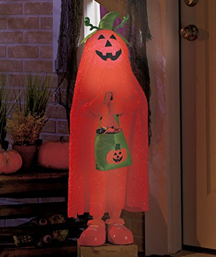 Lighted Color Changing Halloween Trick or Treater Pumpkin Kid Jack O Lantern Candy Bag Witch Hat Greeters Haunted House - Displays Halloween Pumpkin