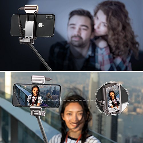 Mpow Selfie Stick Bluetooth, with 360 Degree Led Fill Light and Rear Mirror, Adjustable Head & a Carrying Bag, Fits for iPhone X/8/8P/7/7P/6s/6P/5S/SE, Galaxy S6/S7/S8/A7, Huawei and More by Mpow (Image #5)