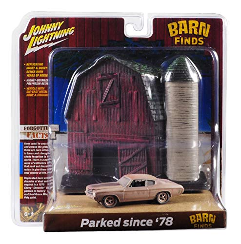 Johnny Lightning 1970 Chevrolet Chevelle SS (Unrestored) with Barn Finds Resin Facade Diorama Lost Legend Series 1/64 Diecast Model Car