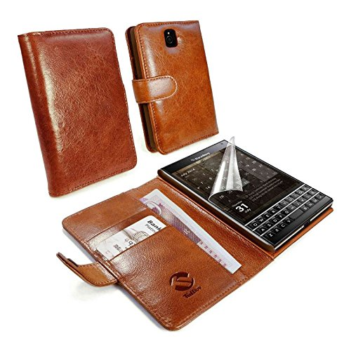 Tuff-Luv Vintage genuine leather wallet case cover (inc screen protector) for Blackberry Passport Q30 - Brown